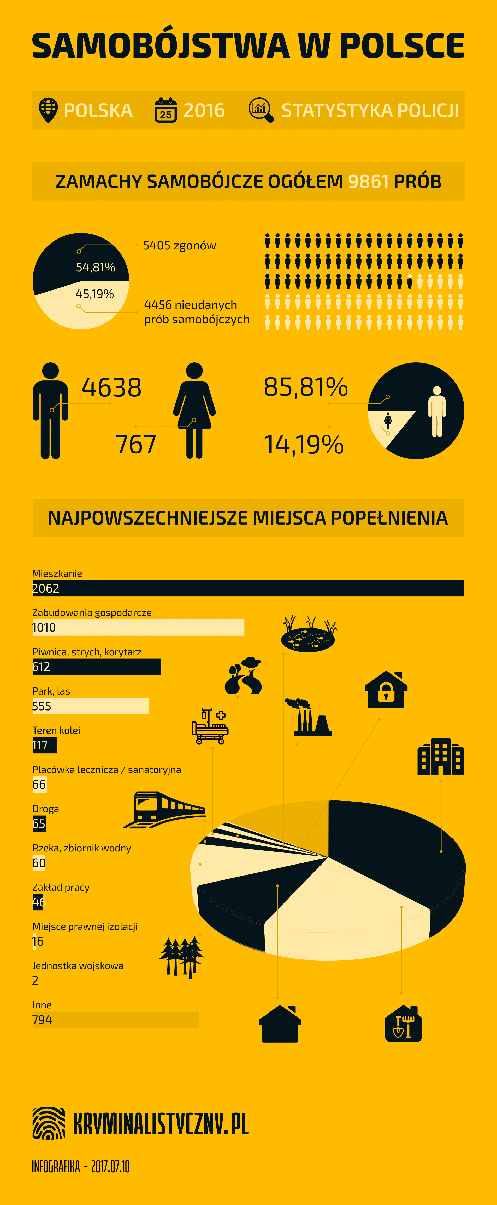 Samobójstwa w Polsce miejsca popełnienia - infografika
