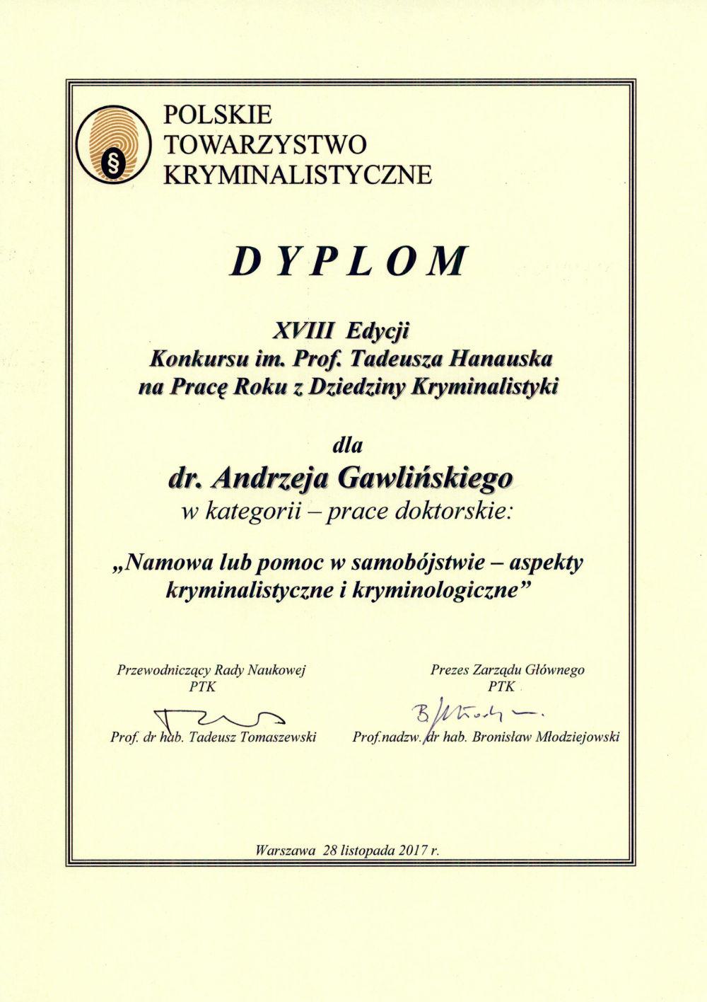 Hanausek XVIII Kryminalistyka dr Andrzej Gawliński