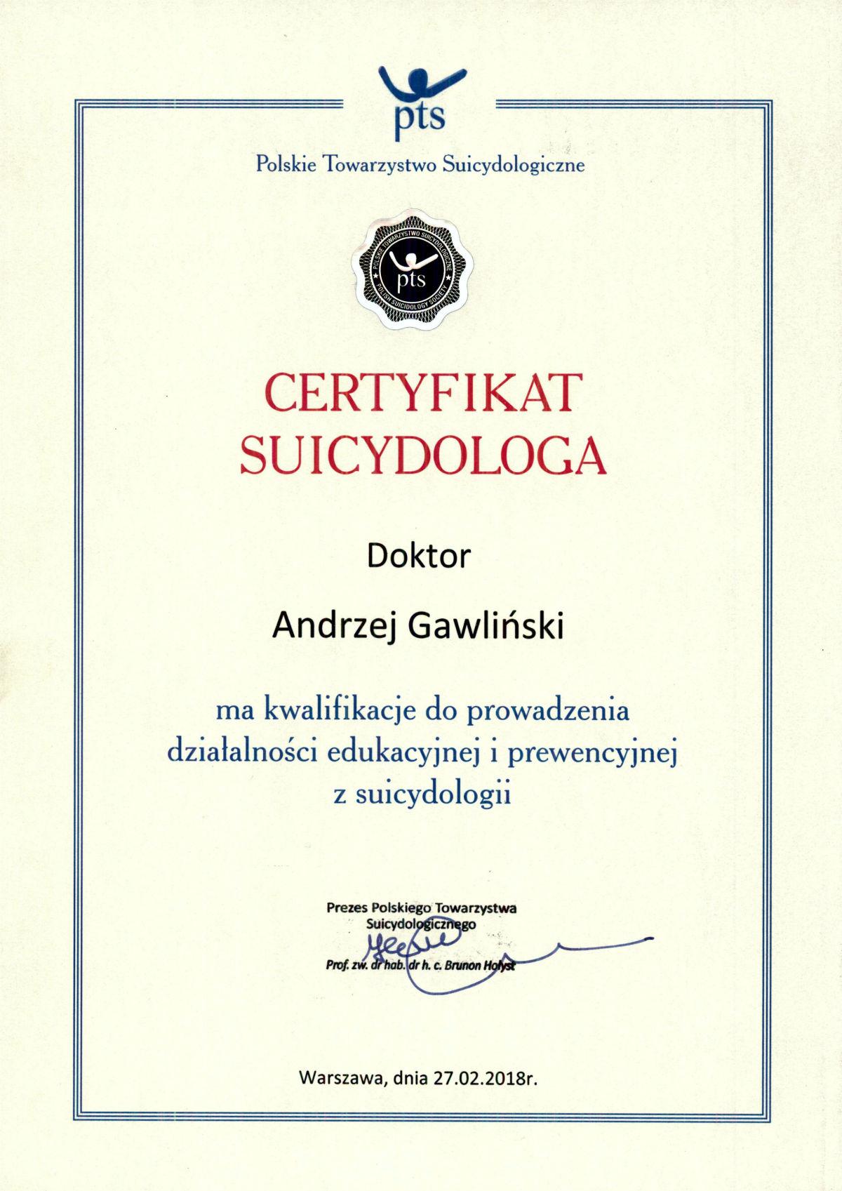 Certyfikat Suicydologa - Andrzej Gawliński