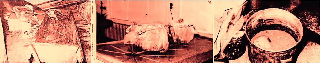 Od lewej: skrzynia ze zwłokami 3 ofiar, kocioł do gotowania bielizny z czaszką wewnątrz, odkryty kocioł z widoczną czaszką.