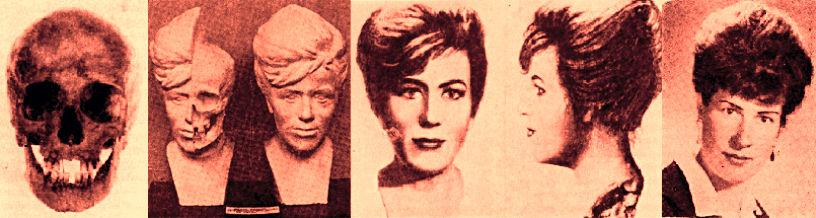 Rekonstrukcja twarzy jednej z ofiar w poszczególnych krokach wraz ze zdjęciem przedstawiającym zidentyfikowaną ofiarę, od lewej: czaszka ofiary; rekonstrukcja plastyczna; fotografia, która posłużyła do identyfikacji; rzeczywiste zdjęcie ofiary