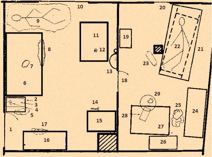 Rysunek przedstawiający umiejscowienie poszczególnych obiektów w mieszkaniu Bogdana Arnolda podczas dokonywania oględzin.