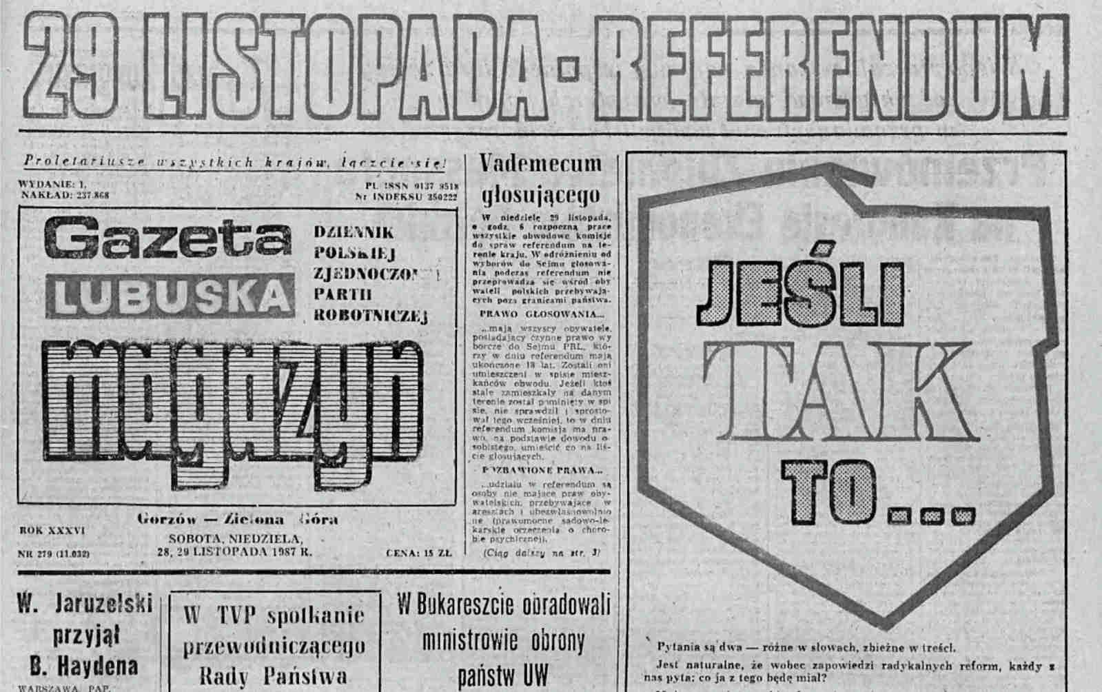Gazeta Lubuska 29.11.1987 - pierwsza strona