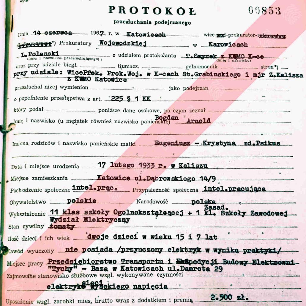 Bogdan Arnold - protokół przesłuchania podejrzanego