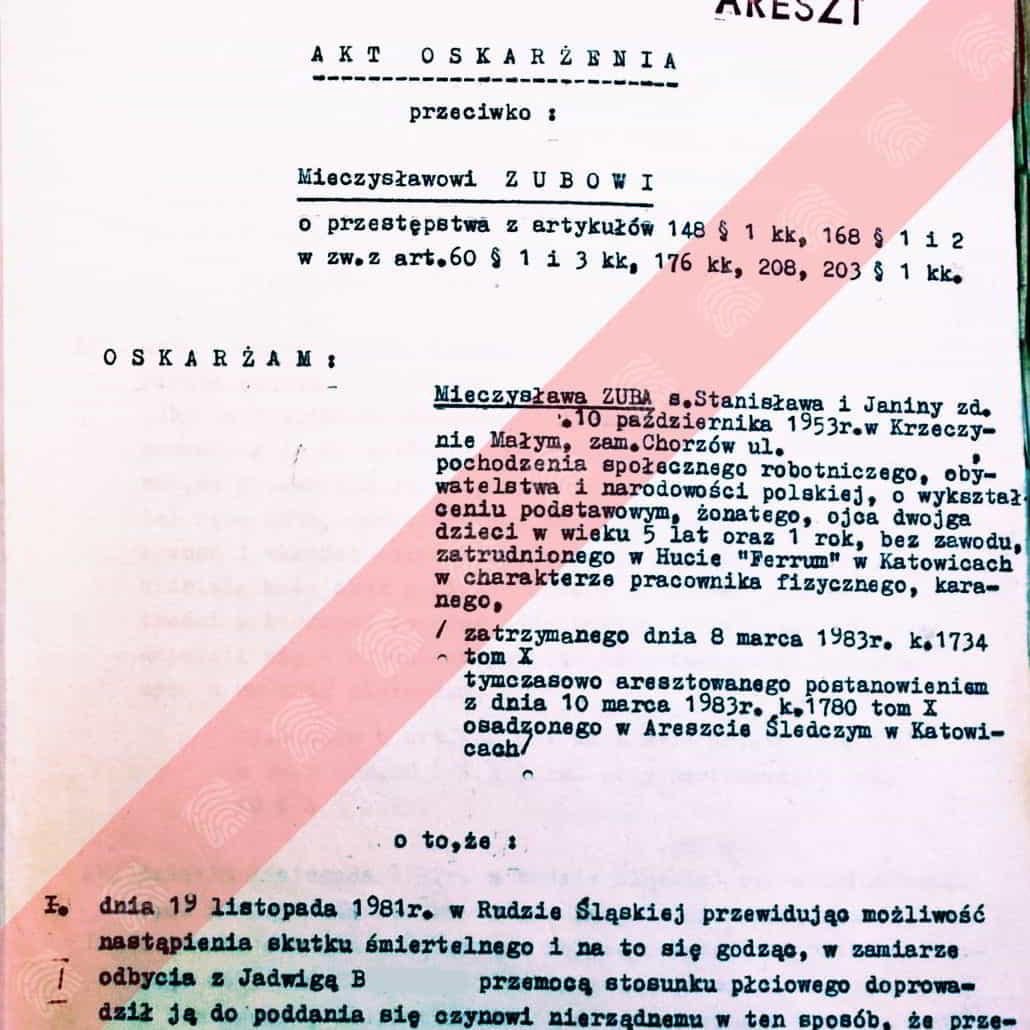 Mieczysław Zub - Fantomas - akt oskarżenia