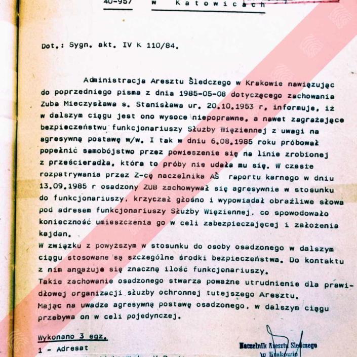 Mieczysław Zub - Fantomas - pismo areszt śledczy