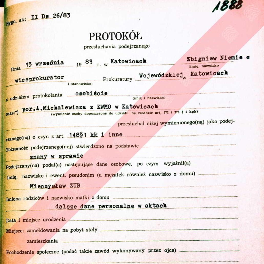 Mieczysław Zub - Fantomas - protokół przesłuchania
