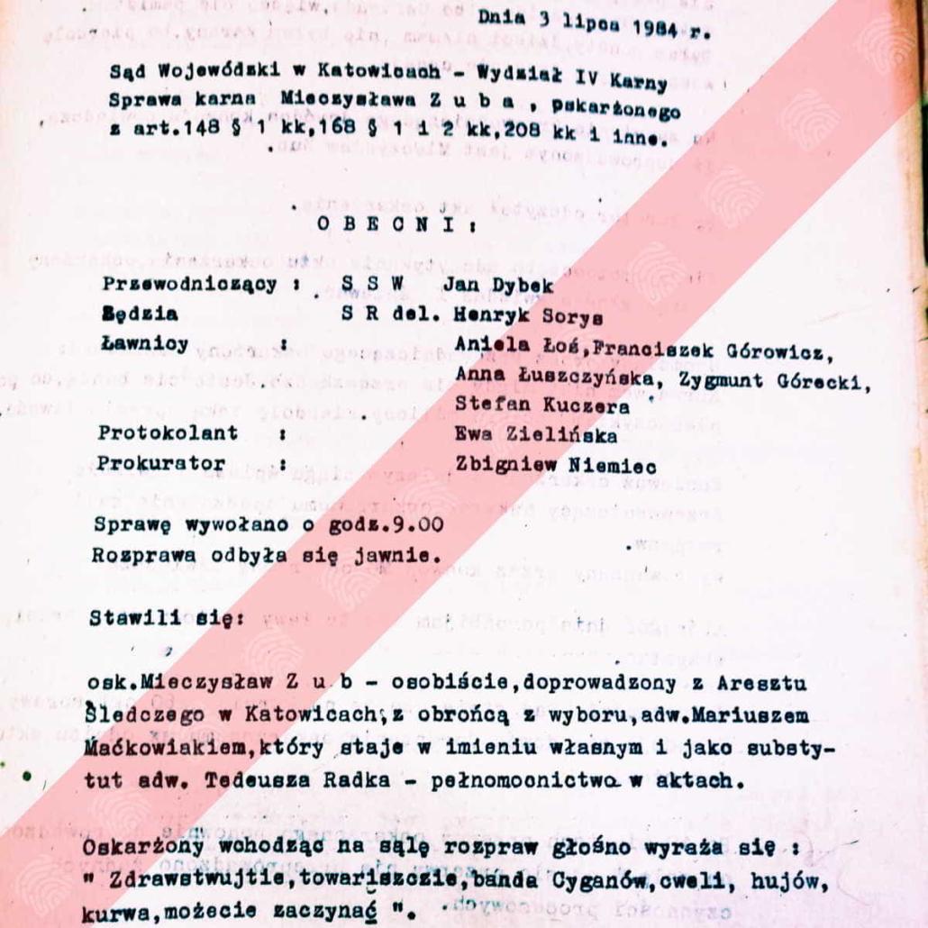 Mieczysław Zub - Fantomas - rozprawa