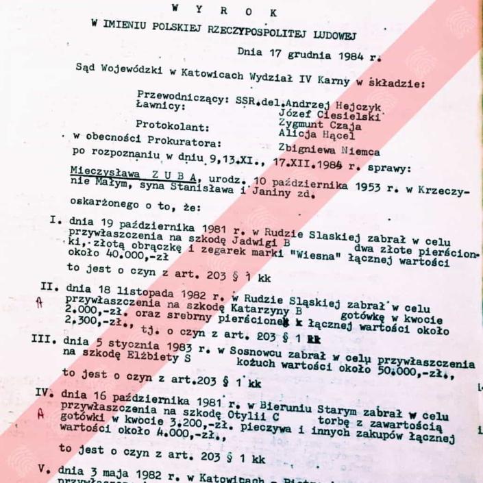 Mieczysław Zub - Fantomas - wyrok
